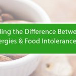 Featured image for a blog about food intolerance and food sensitivity. The image features a bowl of almonds with a title banner as an overlay.